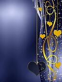 elegant golden and blue background with hearts and stars