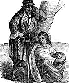 Young gypsy couple by tree vintage engraving