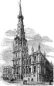 The Town Hall, Halifax, West Yorkshire vintage engraving