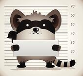 Cartoon Raccoon Mug Shot