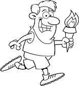 Cartoon running man with a torch