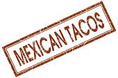 Mexican tacos brown square grungy stamp isolated on white background