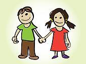 cartoon boy and girl - illustration
