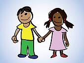 cartoon boy and girl - illustration