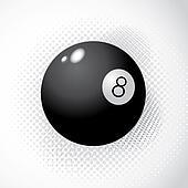 Ball 8 on halftone background - illustration