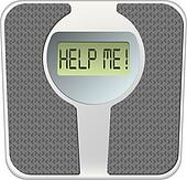 Bathroom scale with the word help me! on the screen