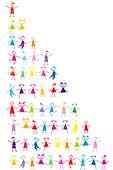 Set of stylized colored kids