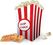 Box with popcorn and movie tickets