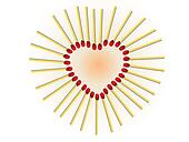 Heart from matches