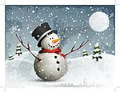 Snowman in a full moon night backgr