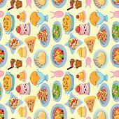 cartoon Italian food seamless pattern