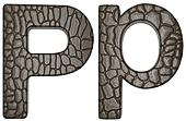 Alligator skin font P lowercase and capital letters