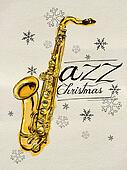Jazz Christmas Painting Saxophone