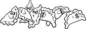 pierogi or dumplings coloring page