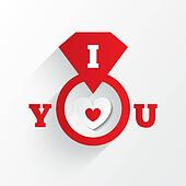 Engagement ring. I love you sign. Red paper heart