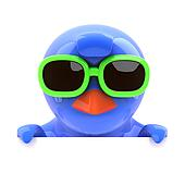 3d Bluebird looking over the top in green sunglasses