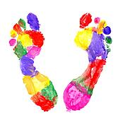 Multi Colored footprints