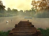Old pier in the lake