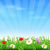 Sunburst Background With Flower And Grass