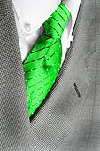 White Shirt Green Tie Suit Jacket