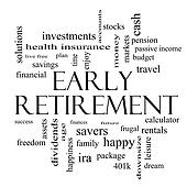 Early Retirement Word Cloud Concept in black and white