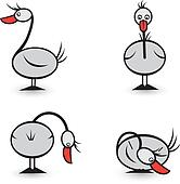Abstract Four geese in different positions