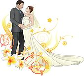 Bride and groom dancing floral background