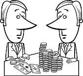 businessmen playing poker cartoon