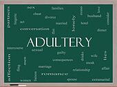 Adultery Word Cloud Concept on a Blackboard