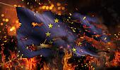 Europe Burning Fire Flag War Conflict Night 3D