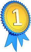 Golden award ribbon number one