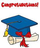 Blue Graduate Cap With Diploma