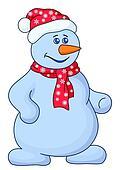 Snowball man in a cap