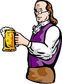 Benjamin Franklin noble aristocratic gentleman holding mug of beer