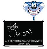 Cat children learning blackboard