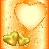 Festive greeting or invitation card with golden hearts