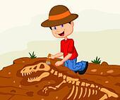 Cartoon Child archaeologist excavat