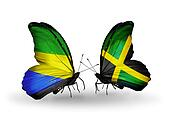 Two butterflies with flags on wings as symbol of relations Gabon and Jamaica