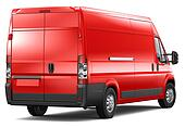 Red cargo van - rear angle