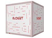 Budget Word Cloud Concept on a 3D cube Whiteboard