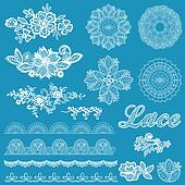 Set of lace, ribbons, flowers - for design and scrapbook - in vector