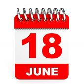 Calendar on white background. 18 June.