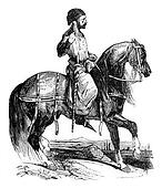 Noble in hunting costume, reign of Henry III, vintage engraving.