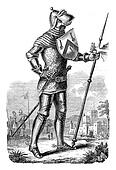 Military costume during the reign of Henry V, vintage engraving.