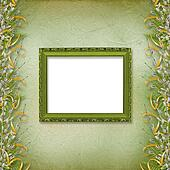 Victorian frame with bunch of willows and ribbons