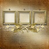 Wooden frames with bunch of willow and narcissus