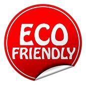 ECO FRIENDLY round red sticker on white background