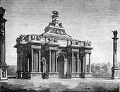 Reign of Louis XIV, Triumphal arch throne said, by Claude Perrault, vintage engraving.