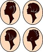 beautiful women and girl silhouettes with different hairs