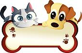 Dog and cat with banner